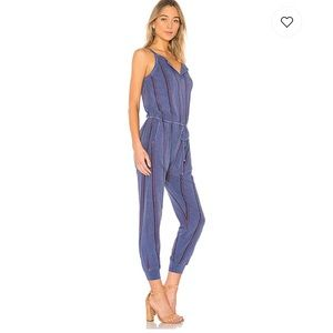 Sundry Striped Henley Jumpsuit